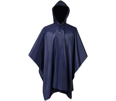 vidaXL Poncho para chuva impermeável campismo/caminhadas azul-marinho