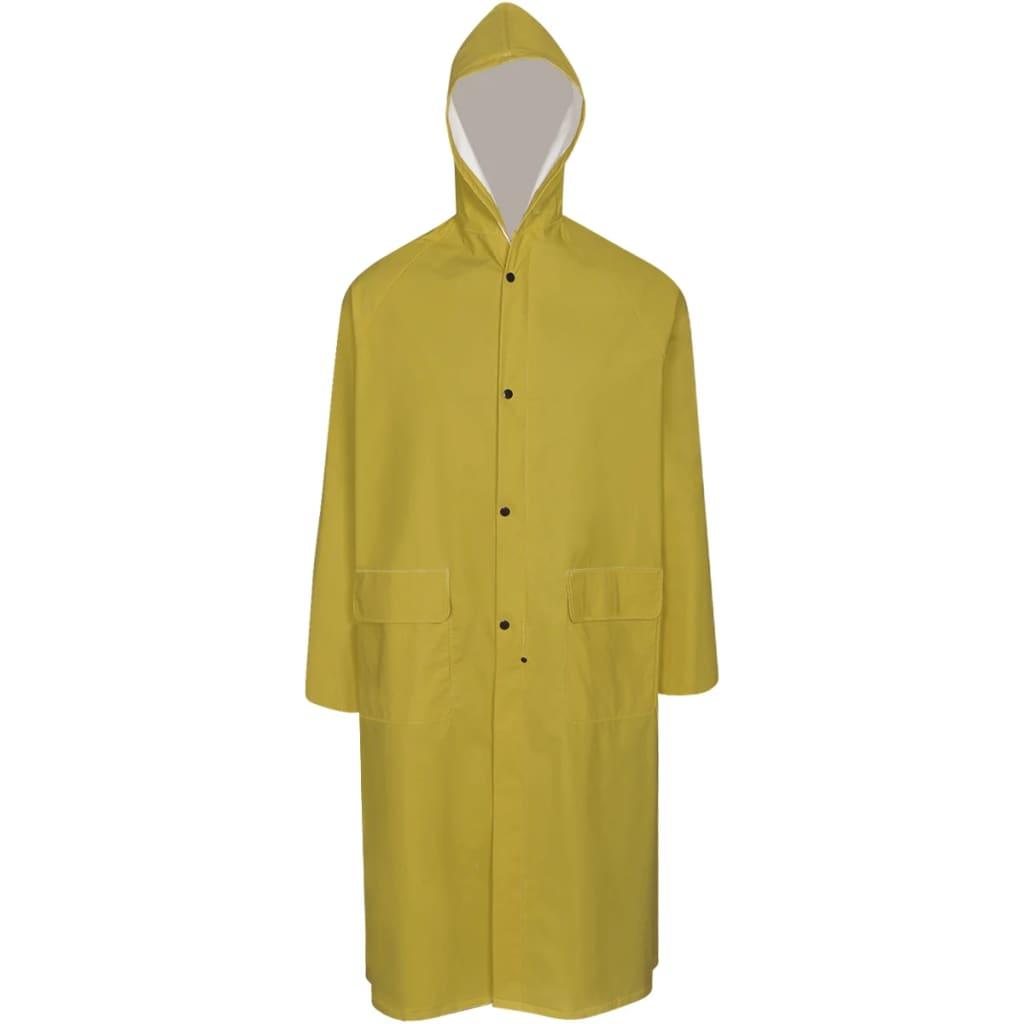 Nepromokavá pevná dlouhá pláštěnka s kapucí žlutá L