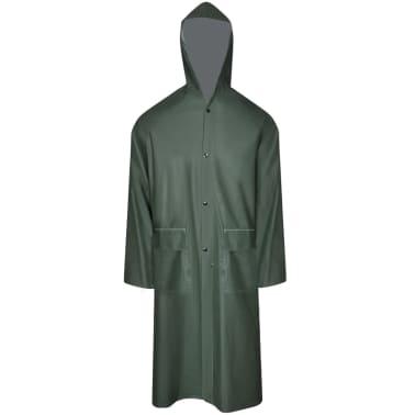Lange regenjas waterbestendig zeer stevig met capuchon groen M[1/4]