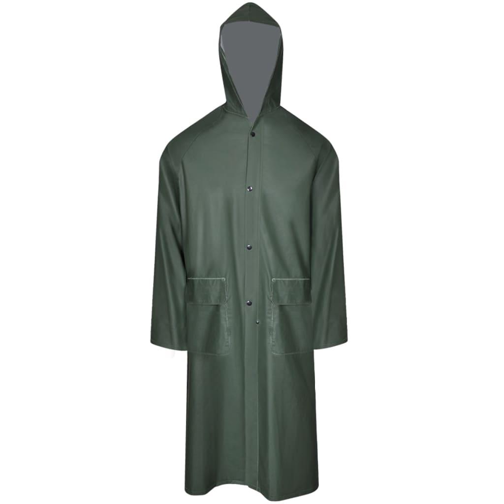 Nepromokavá pevná dlouhá pláštěnka s kapucí zelená XXL