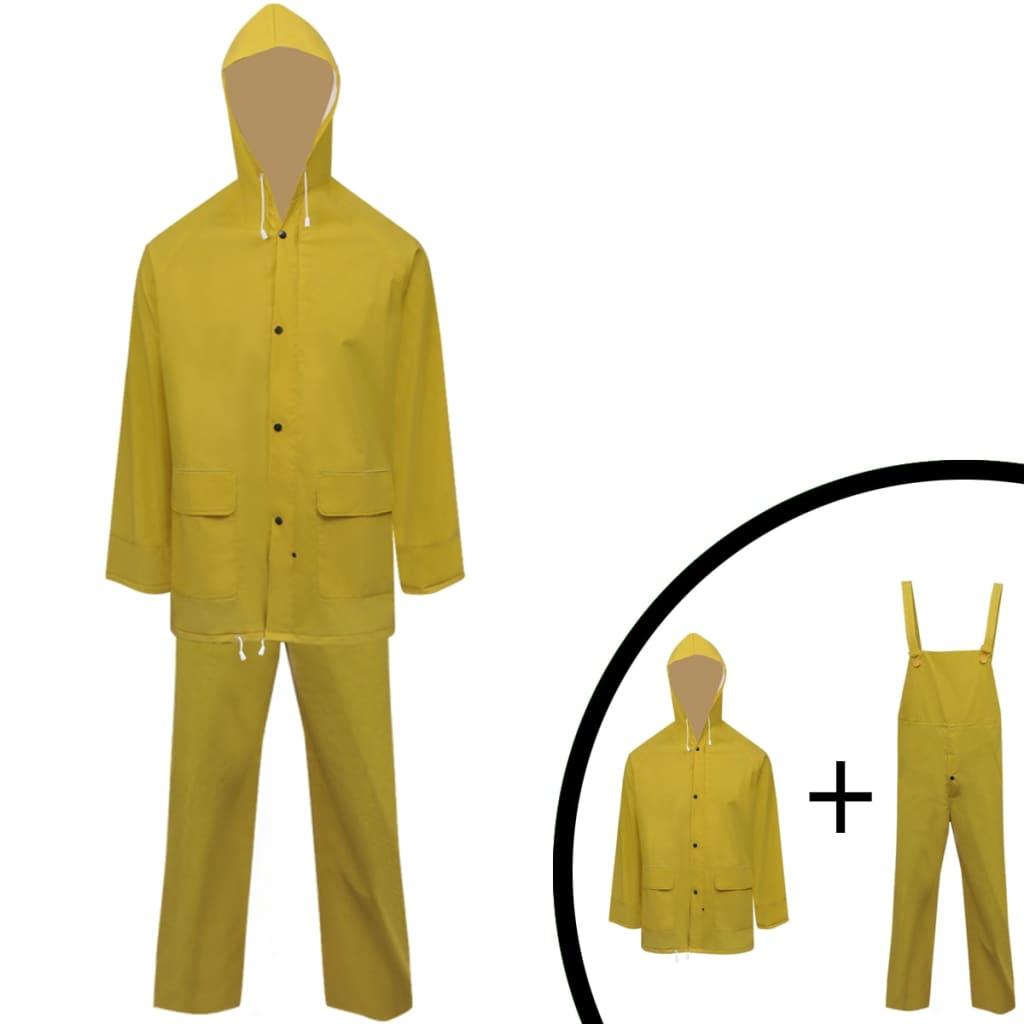 99130777 2-tlg. Regenanzug mit Kapuze wasserdicht hochbelastbar gelb L