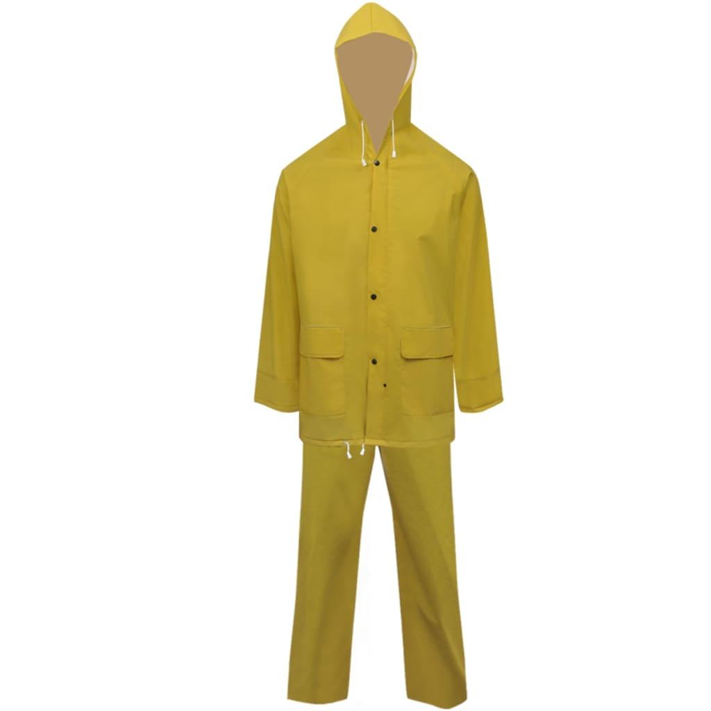 Costum de ploaie impermeabil cu glugă, mărime XXL, galben, 2 piese vidaxl.ro