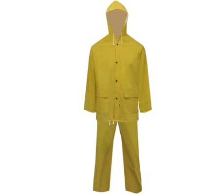 vidaXL Tweedelig regenpak waterbestendig met capuchon geel XXL