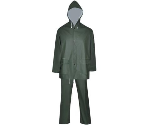vidaXL Tweedelig regenpak waterbestendig met capuchon groen M[2/8]
