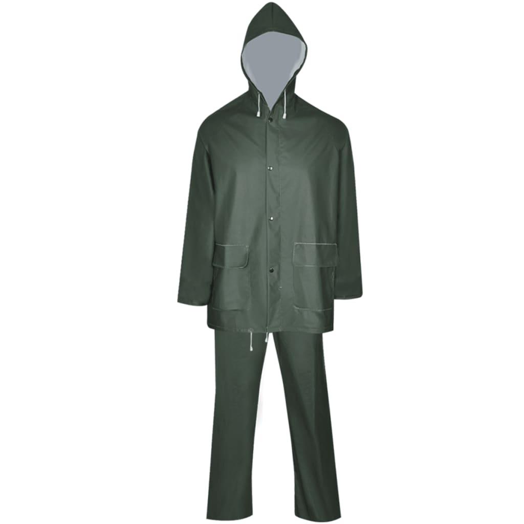 vidaXL Tweedelig regenpak waterbestendig met capuchon groen XL