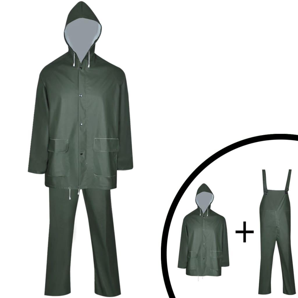 Nepromokavý vysoce odolný 2dílný oblek s kapucí zelený XXL