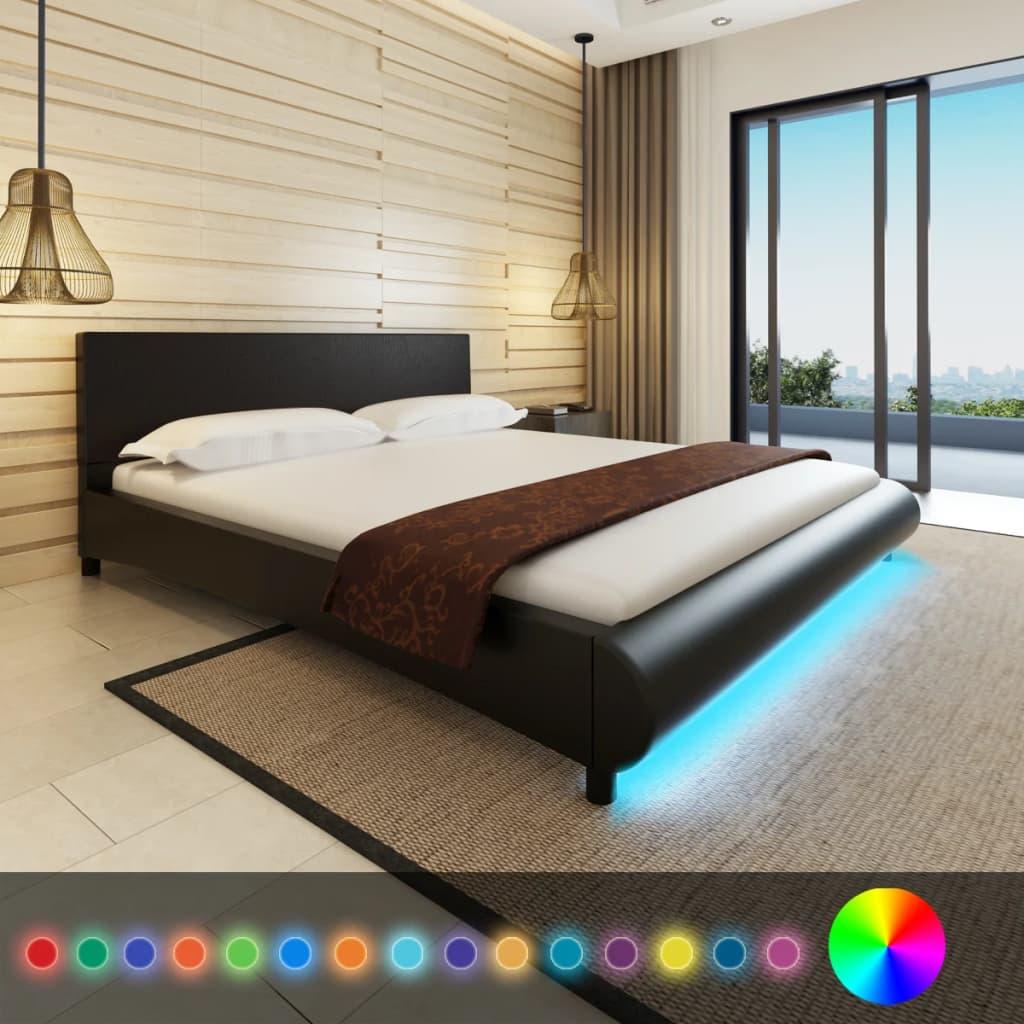 Černá postel z umělé kůže 180x200cm LED pás + matrace + vrchní matrace
