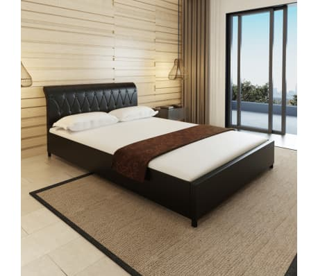 kunstlederbett knopfpolsterung 140x200 schwarz matratze obermatratze g nstig kaufen. Black Bedroom Furniture Sets. Home Design Ideas