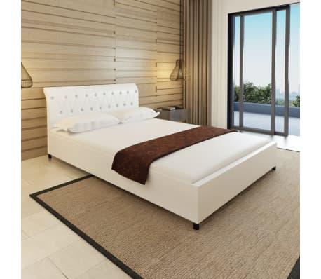 acheter lit capitonn en cuir artificiel blanc 140 cm matelas surmatelas pas cher. Black Bedroom Furniture Sets. Home Design Ideas