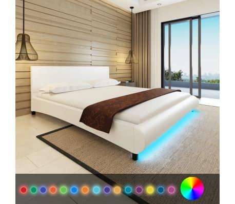 acheter vidaxl lit avec matelas et led 180 x 200 cm cuir artificiel blanc pas cher. Black Bedroom Furniture Sets. Home Design Ideas