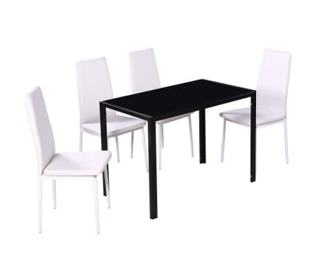 4 Witte Eetstoelen.Eethoek Met 4 Witte Stoelen 1 Tafel Modern Design Vidaxl Nl