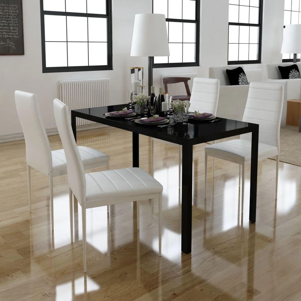 Jídelní set: 4 bílé židle + 1 černý stůl s moderním designem