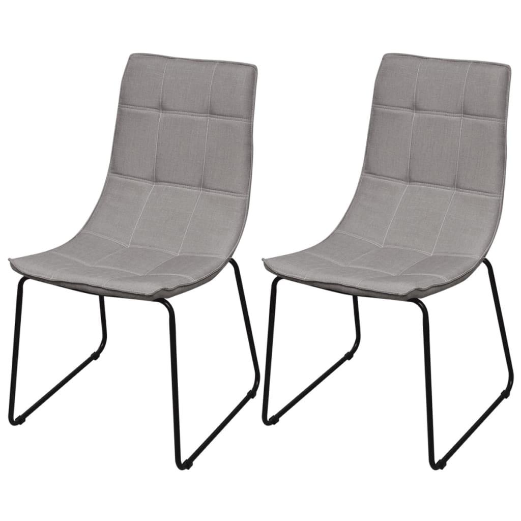 2 jídelní židle světle šedé s kovovými nohami