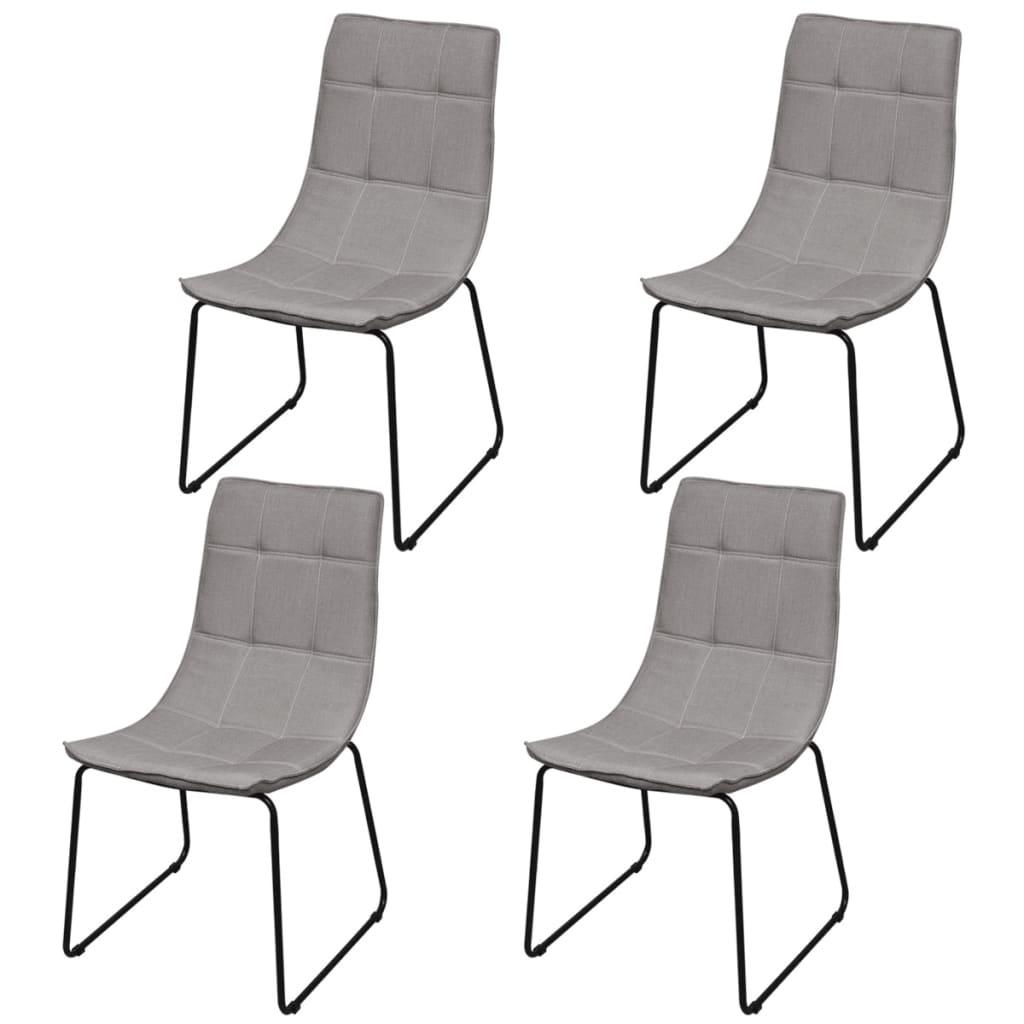 vidaXL Καρέκλες Τραπεζαρίας 4 τεμ. Ανοιχτό Γκρι με Σιδερένια Πόδια