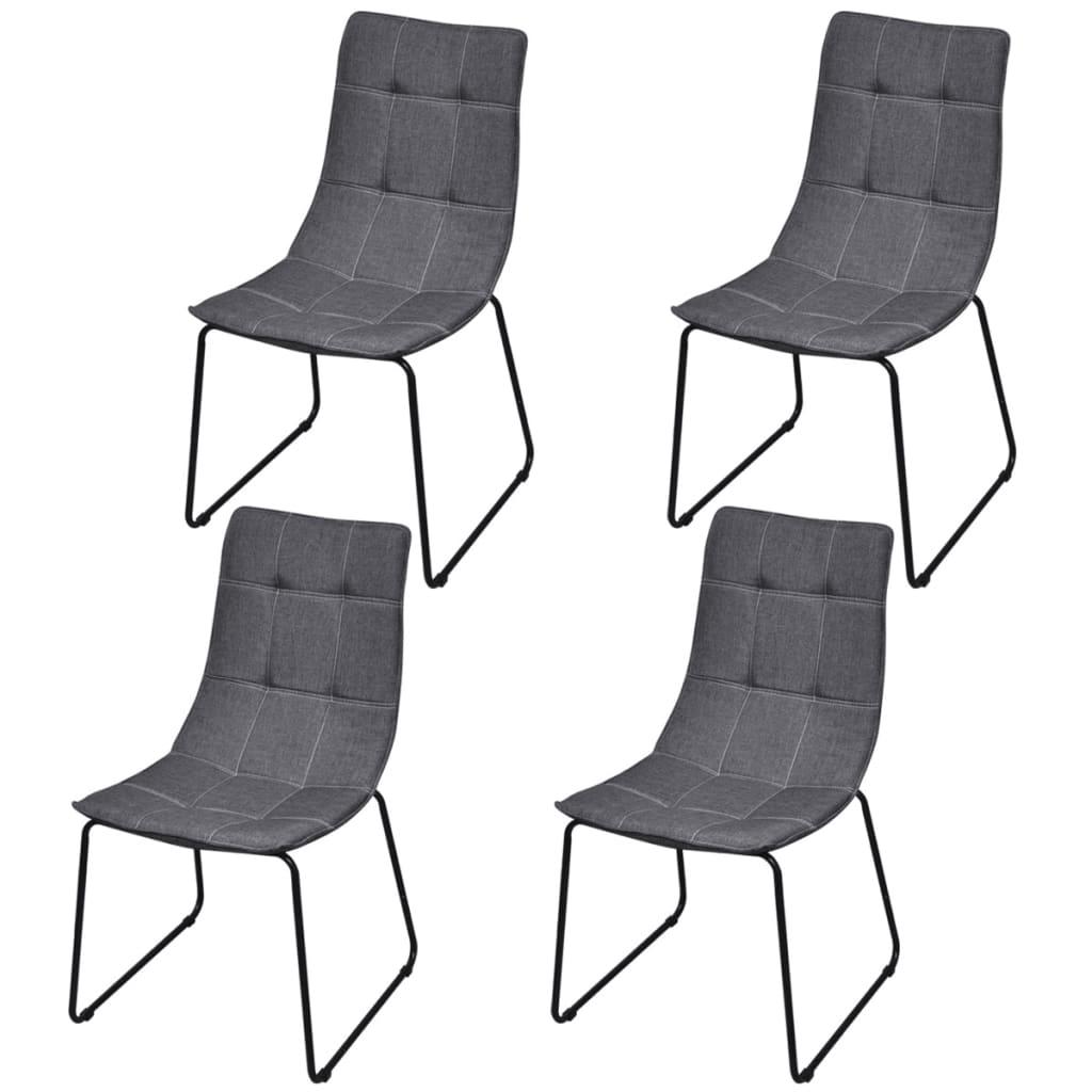 4 jídelní židle tmavě šedé s železnými nohami