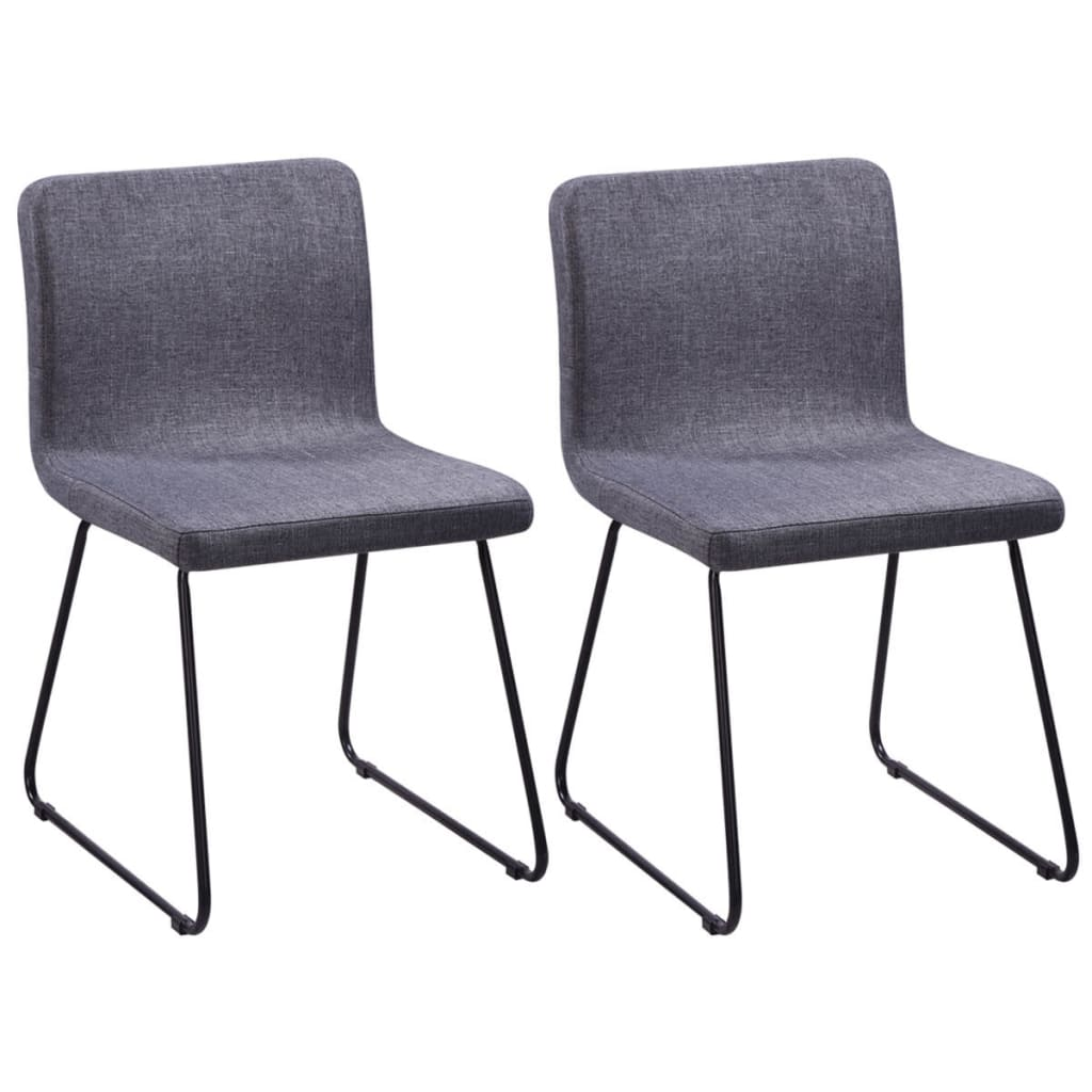 vidaXL 2 Fabric Dining Chairs Dark Grey Iron Legs