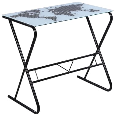 Glass Desk with World Map Pattern[2/6]
