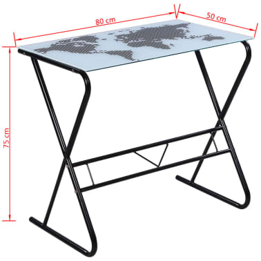 Glass Desk with World Map Pattern[6/6]