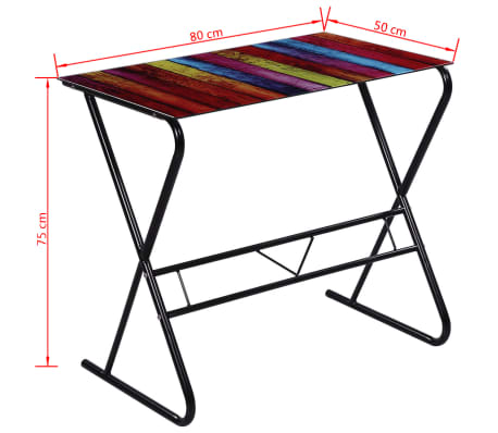 Computer desk glass table home office study furniture world map its understated design is contemporary yet timeless the desktop has a large decorative print of the world maprainbow gumiabroncs Gallery