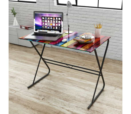 Tempered glass computer student desk world maprainbow pattern home its understated design is contemporary yet timeless the desktop has a large decorative print of world map gumiabroncs Gallery