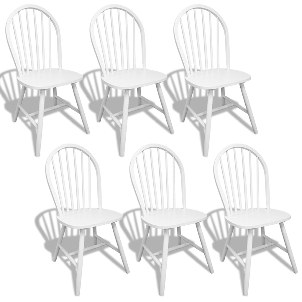 vidaXL Καρέκλες Τραπεζαρίας 6 τεμ. Λευκές από Μασίφ Ξύλο