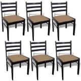 vidaXL 6 drevených jedálenských stoličiek, štvorcové, hnedé (242028+242029)