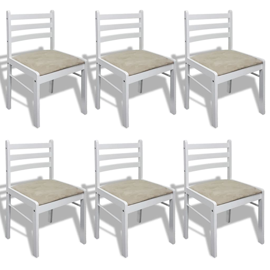 vidaXL Καρέκλες Τραπεζαρίας 6 τεμ. Λευκές από Μασίφ Ξύλο / Βελούδο