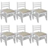 vidaXL Καρέκλες Τραπεζαρίας Τετράγωνες 6 τεμ. Λευκές Ξύλινες