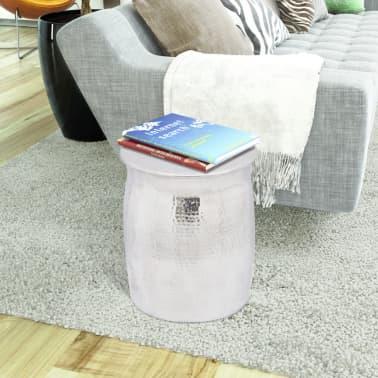 vidaXL Kalto aliuminio taburetė/šoninis staliukas, sidabro spalvos[2/4]