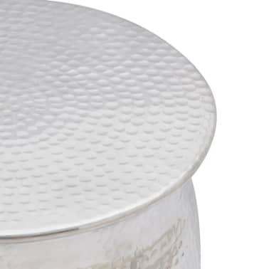 vidaXL Hammered Aluminium Stool/Side Table Silver[3/4]