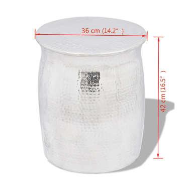 vidaXL Kalto aliuminio taburetė/šoninis staliukas, sidabro spalvos[4/4]