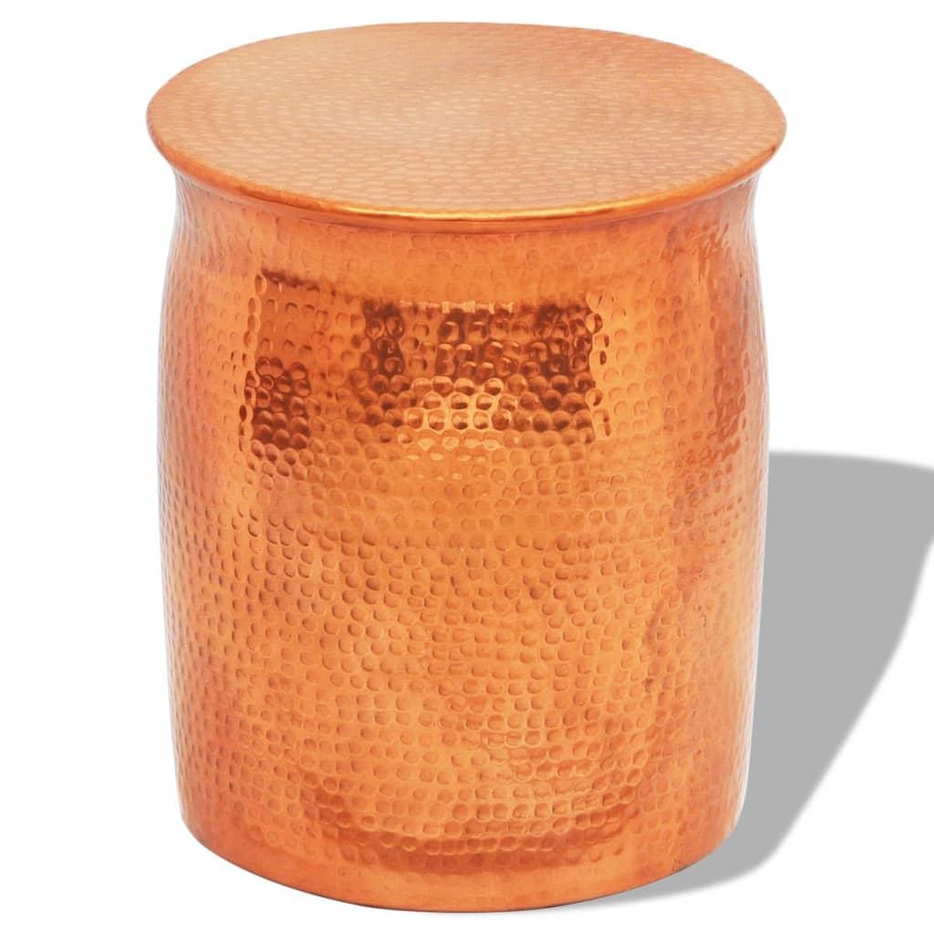 Tepaná hliníková stolička / odkládací stolek měděné/mosazné barvy
