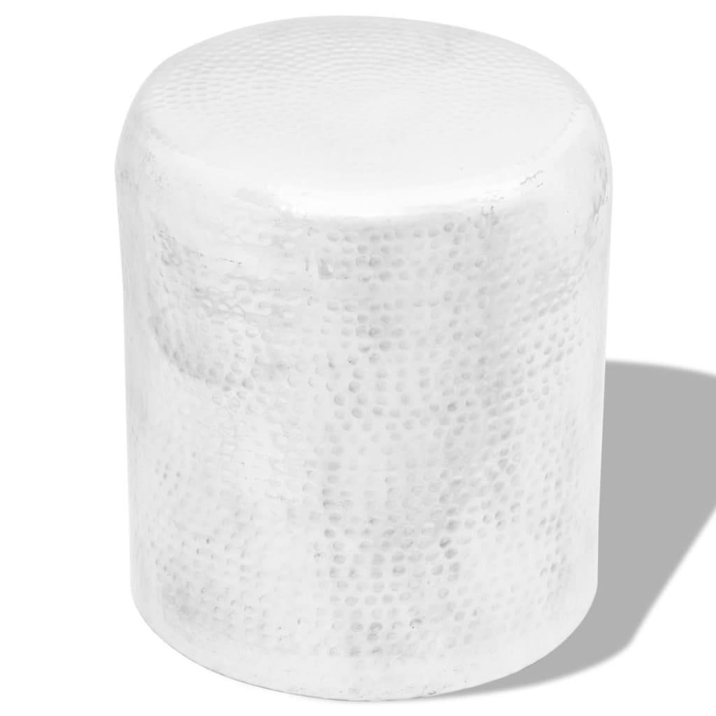 vidaXL Scaun/Masă laterală din aluminiu bătut la ciocan, argintiu vidaxl.ro