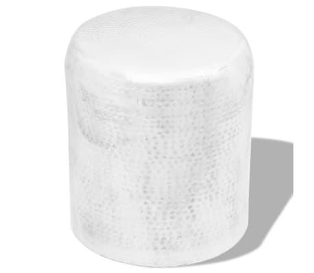 vidaXL Hammered Aluminium Stool/Side Table Silver