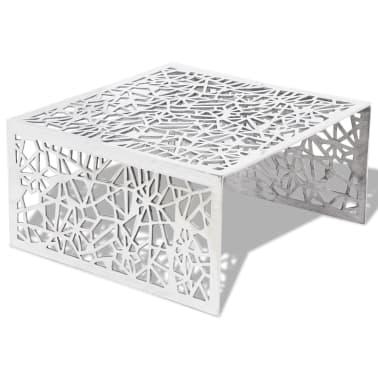 vidaXL Couchtisch Silbern Geometrisches Lochmuster Aluminium[2/5]