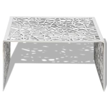 vidaXL Couchtisch Silbern Geometrisches Lochmuster Aluminium[3/5]