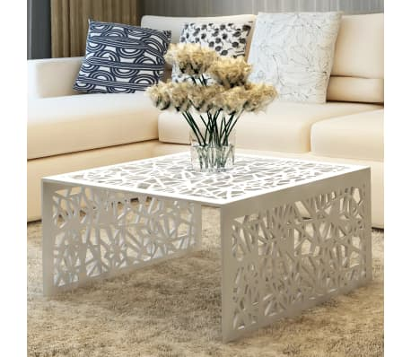 vidaxl table basse table de salon aluminium design g om trique ajour argent ebay. Black Bedroom Furniture Sets. Home Design Ideas
