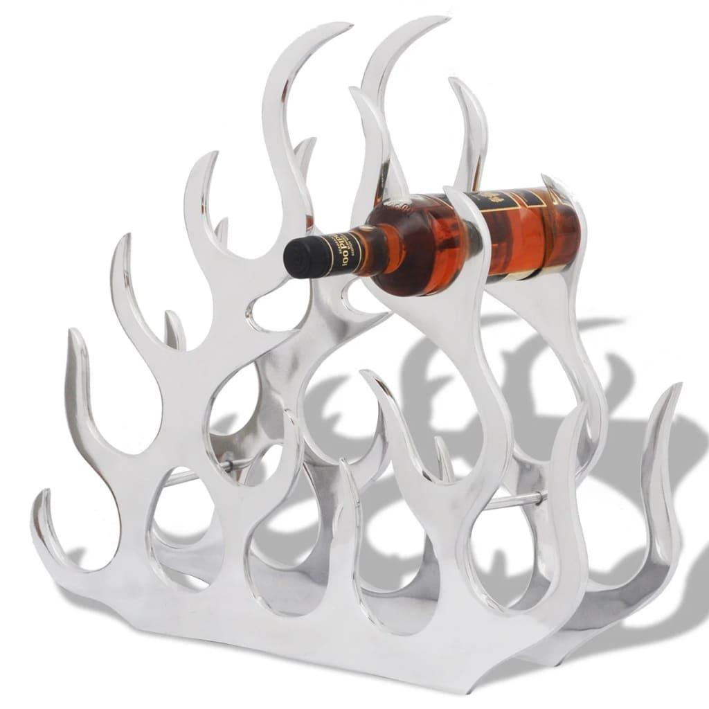 vidaXL Stojan na víno na 11 lahví stříbrný hliník