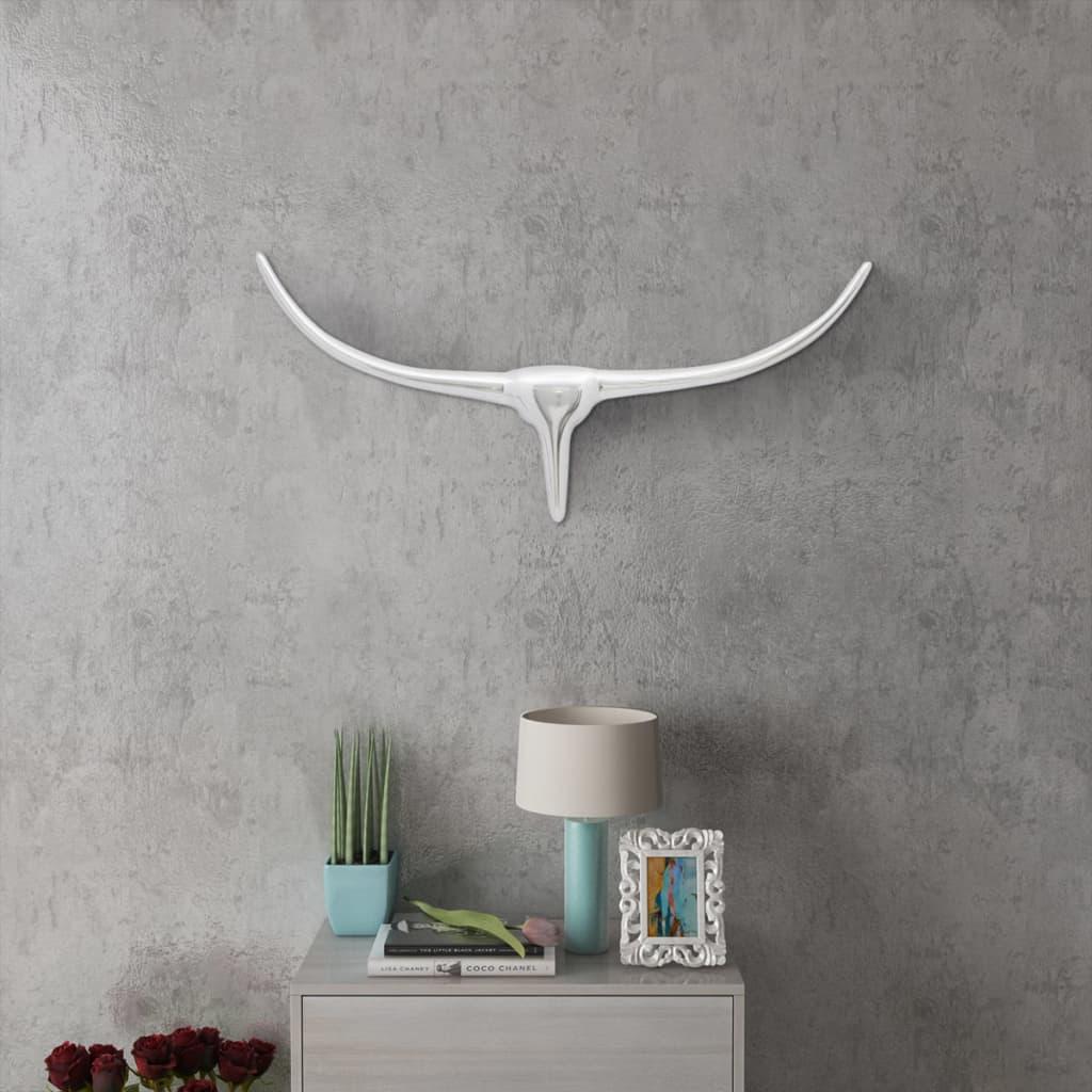 Nástěnná hliníková býčí hlava, dekorace, stříbrná barva 72 cm
