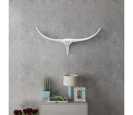 Wall Mounted Aluminium Bull's Head Decoration Silver 72 cm[1/5]
