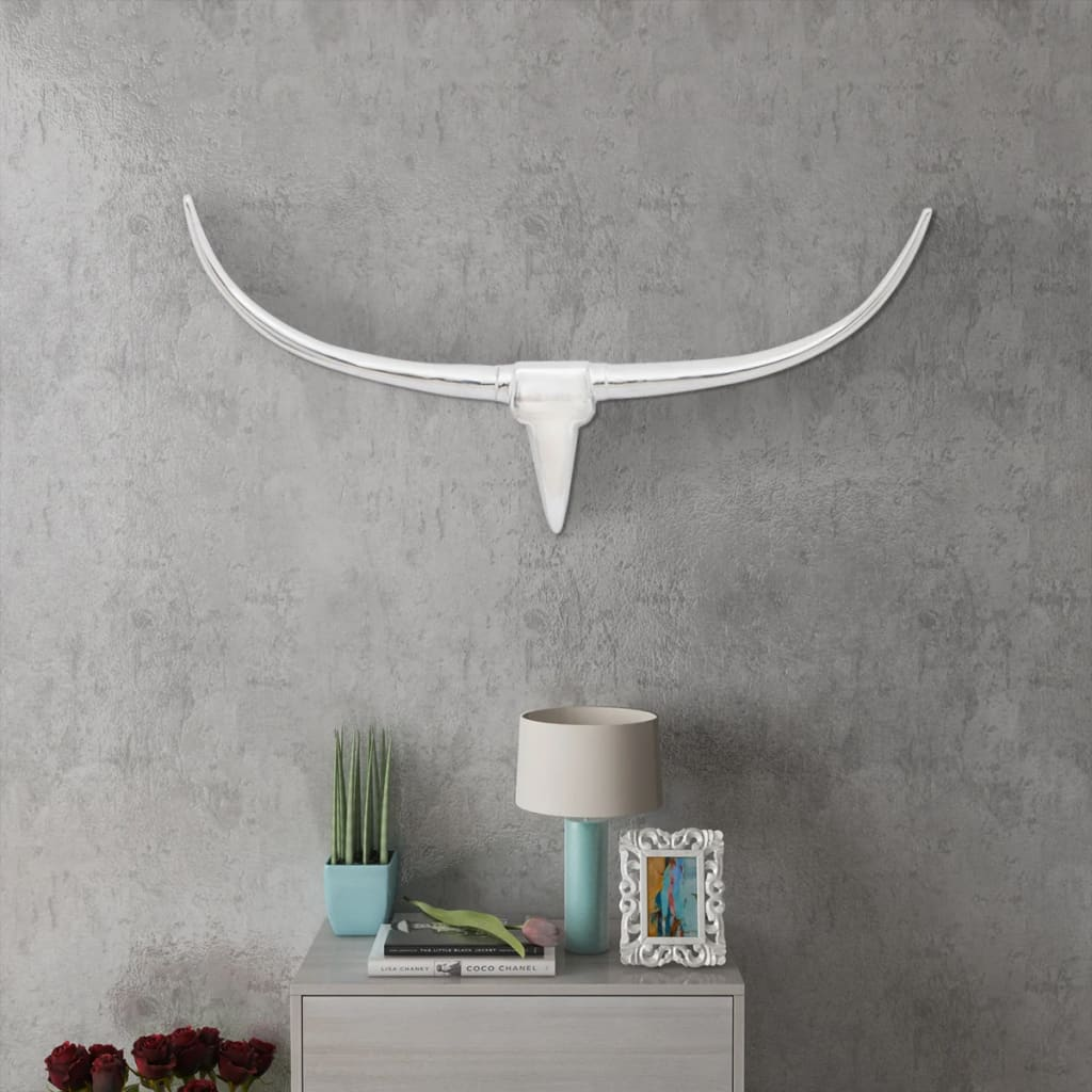 Nástěnná hliníková býčí hlava, dekorace, stříbrná barva 96 cm