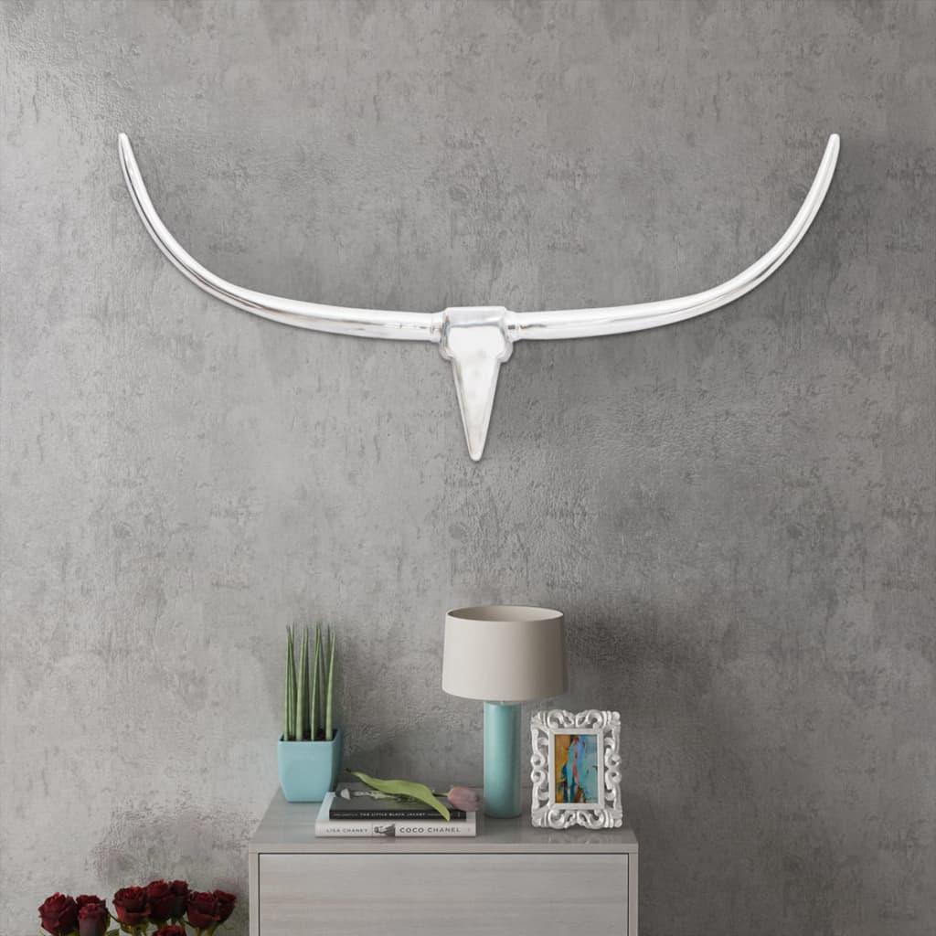 Nástěnná hliníková býčí hlava, dekorace, stříbrná barva 125 cm