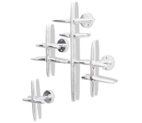 2 Wall Mounted Clothes Hooks Set Coat Rack Hat Hanger Aluminum Silver[1/5]