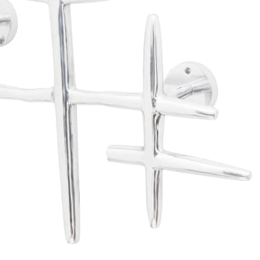 2 Wall Mounted Clothes Hooks Set Coat Rack Hat Hanger Aluminum Silver[4/5]