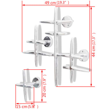 2 Wall Mounted Clothes Hooks Set Coat Rack Hat Hanger Aluminum Silver[5/5]