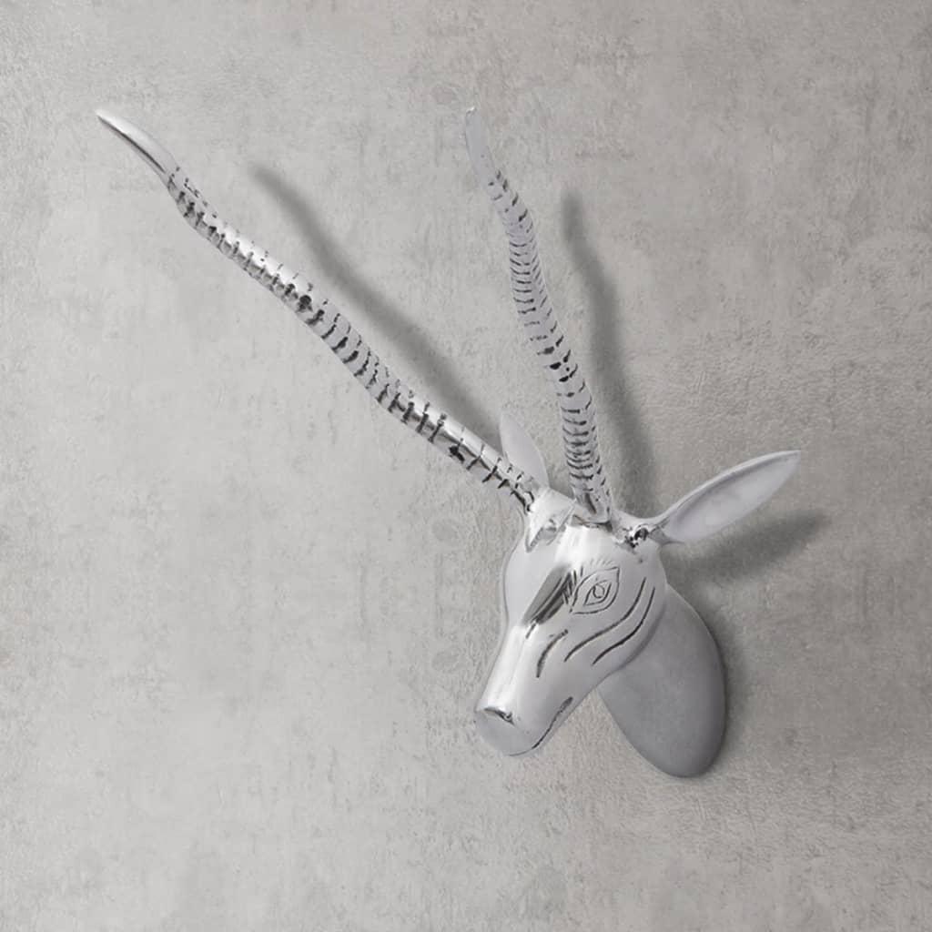 Nástěnná dekorace hlava gazely, hliník, stříbrná 33 cm