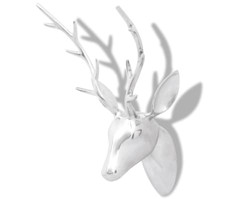 Wall Mounted Aluminium Deer's Head Decoration Silver 62 cm[2/5]