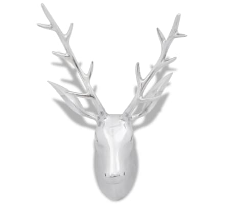 Wall Mounted Aluminium Deer's Head Decoration Silver 62 cm[3/5]