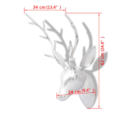 Wall Mounted Aluminium Deer's Head Decoration Silver 62 cm[5/5]