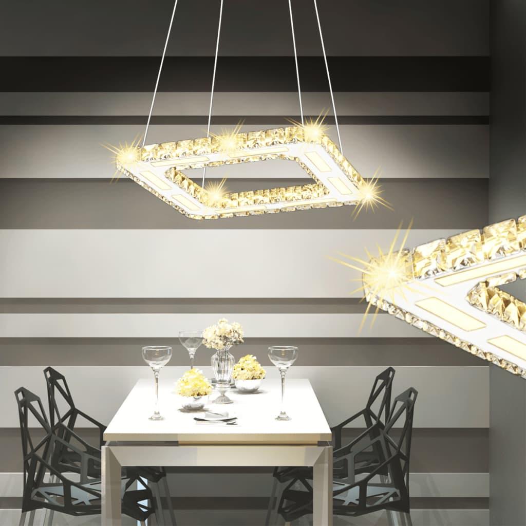 Čtvercové LED závěsné svítidlo křišťálové 15,4 W